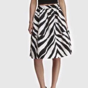 NEW-EXPRESS Zebra print Pleated Midi Skirt -Size 4